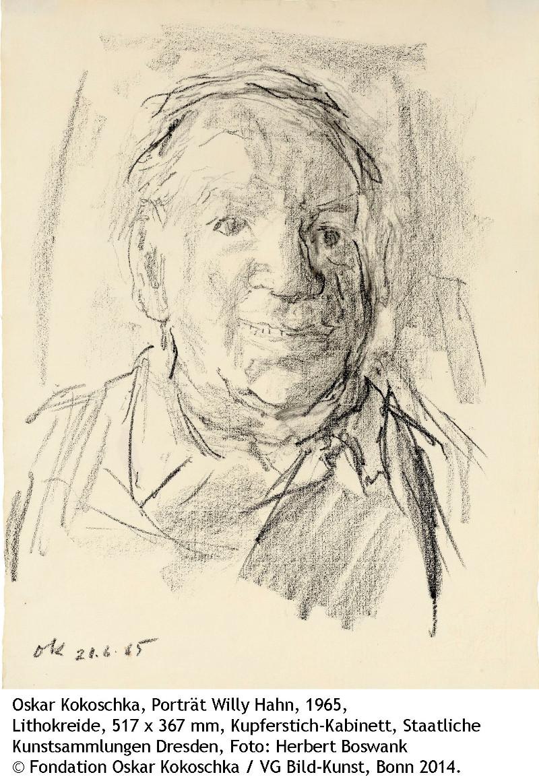 Oskar Kokoschka, Porträt Willy Hahn, 1965, Kupferstich-Kabinett, Foto: Herbert Boswank © Fondation Oskar Kokoschka / VG Bild-Kunst, Bonn 2014.