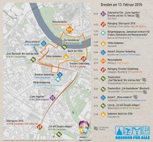 Zahlreiche Veranstaltungen erinnern an die Schrecken des Krieges. Quelle: Dresden für Alle