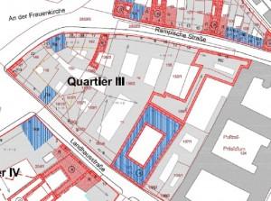 Die CG-Gruppe will im Neumarkt-Quartier III zwischen Landhausstraße und Rampische Straße moderne Wohn-und Geschäftshäuser errichten. Quelle: GHND